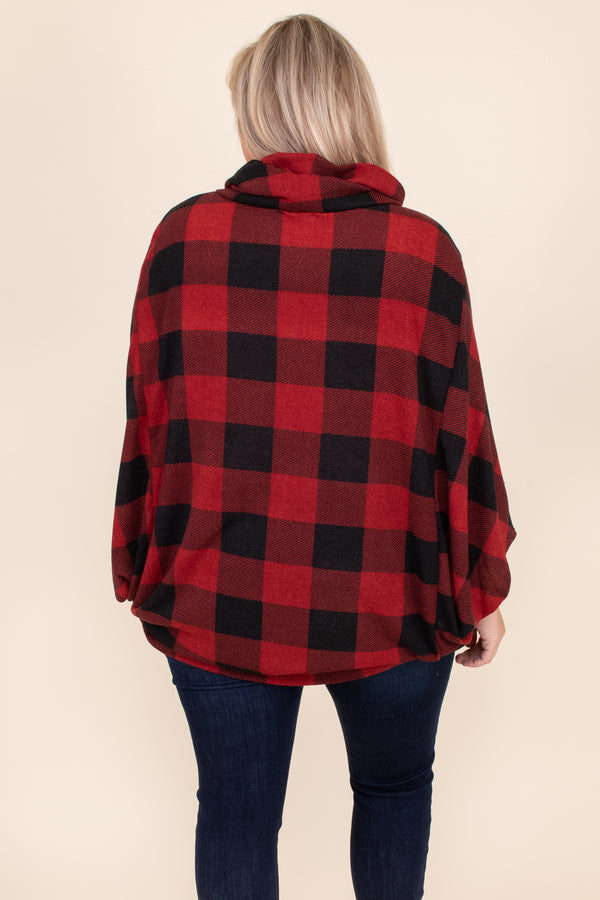 top, poncho, red, black, plaid, three quarter sleeves