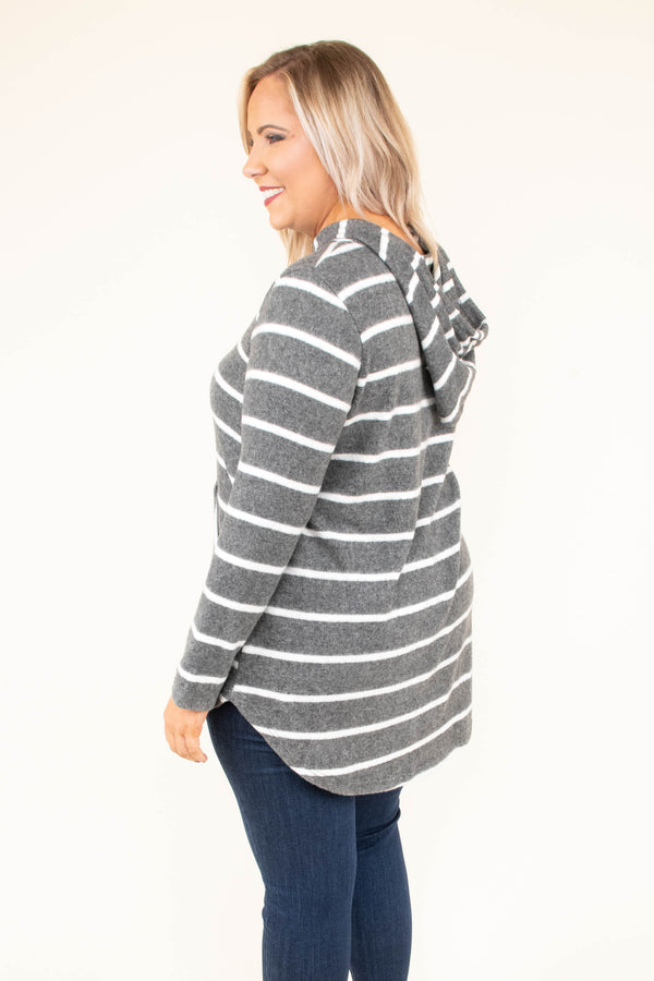 hoodie, long sleeve, curved hem, hood, drawstrings, front pocket, charcoal, white, striped, comfy, outerwear