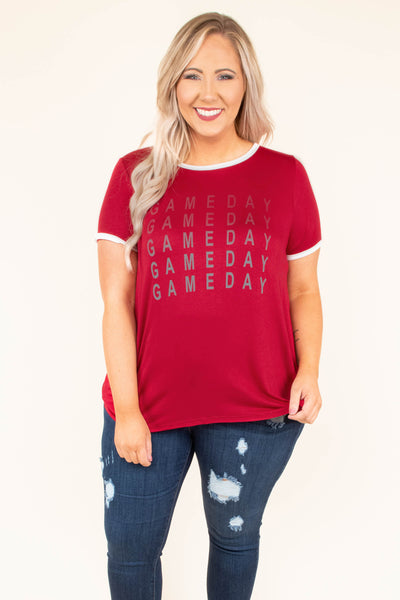 Game Day Ready Tee, Crimson-White