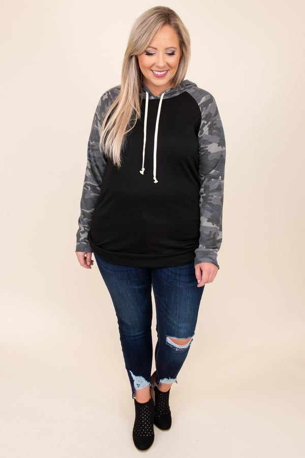 Miss Independence Hoodie, Black-Gray