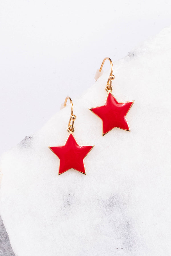 earrings, dangly, star, red, gold