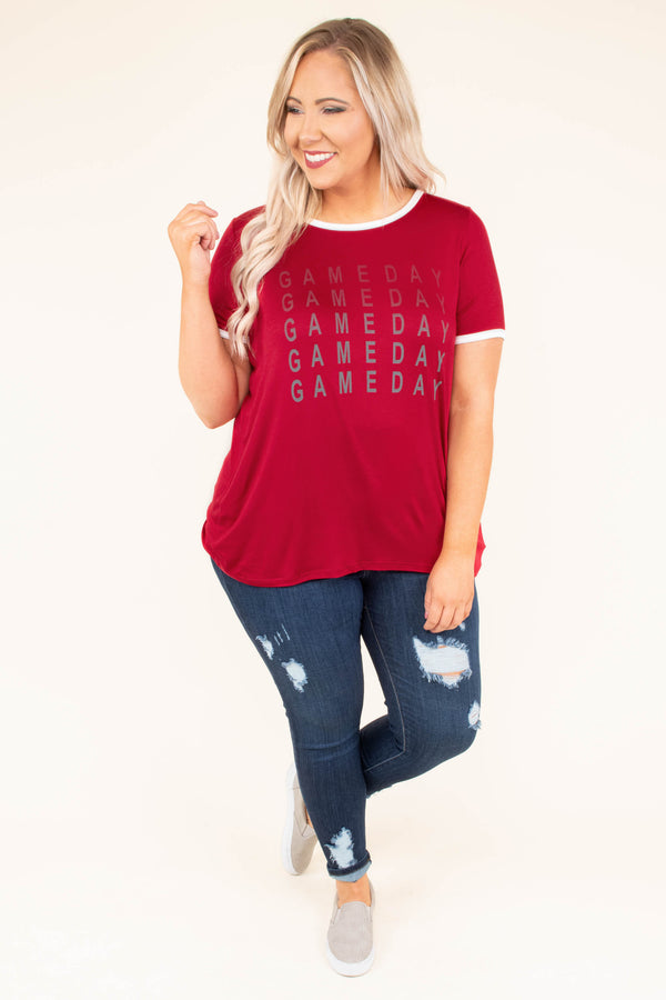 tshirt, short sleeve, curved hem, red, graphic, gameday, comfy, flowy