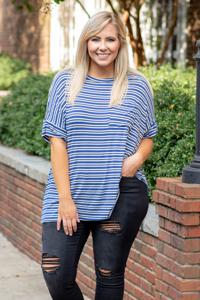 shirt, short sleeve, cuffed sleeves, chest pocket, curved hem, flowy, navy, white, striped, comfy