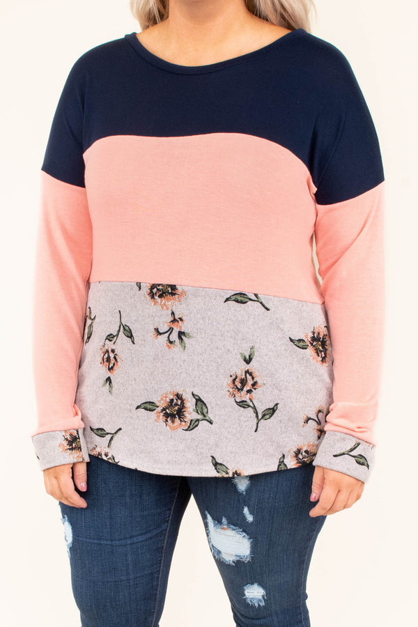 shirt, long sleeve, navy, blush, oatmeal, green, floral, colorblock, comfy, fall, winter