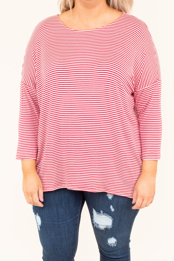 shirt, long sleeve, red, white, striped, comfy, fall, winter, longer back