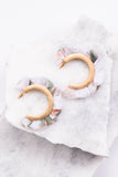 earrings, hoops, gold, floral, ruffle, white, green, peach