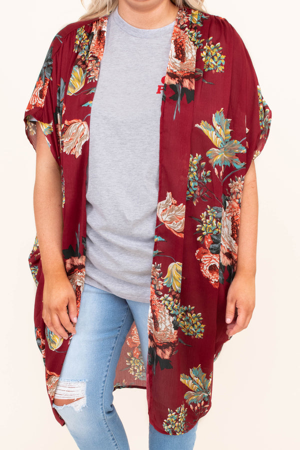 kimono, short sleeve, long, flowy, thin, drapey, red, floral, yellow, blue, red, white, comfy, outerwear, spring, summer