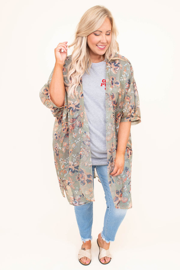 kimono, three quarter sleeve, long, sheer, flowy, olive, floral, orange, blue, white, comfy, outerwear, spring, summer