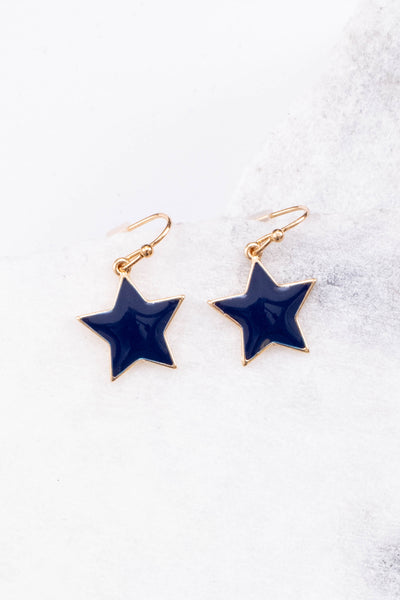 earrings, dangly, star, blue, gold