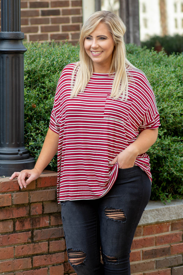 shirt, short sleeve, cuffed sleeves, chest pocket, curved hem, flowy, burgundy, white, striped, comfy
