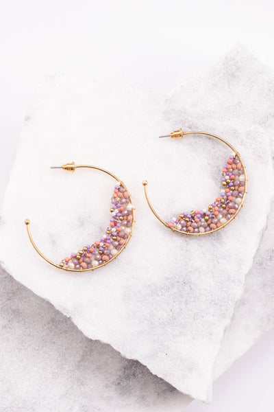 earrings, hoops, mid sized, beaded, lavender, pink, gold