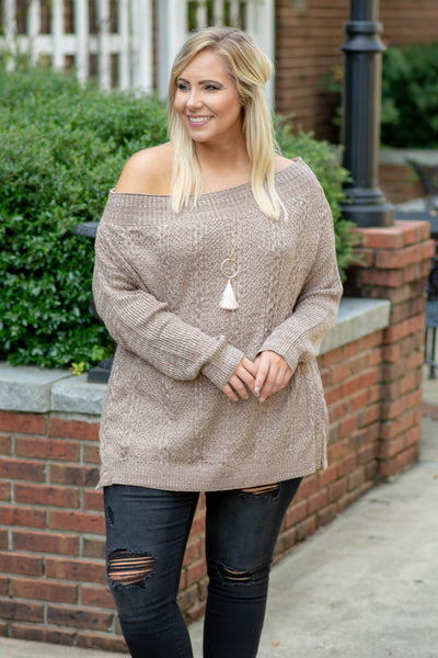 sweater, long sleeve, off the shoulder, knitted, brown, solid, long, loose, comfy, fall, winter