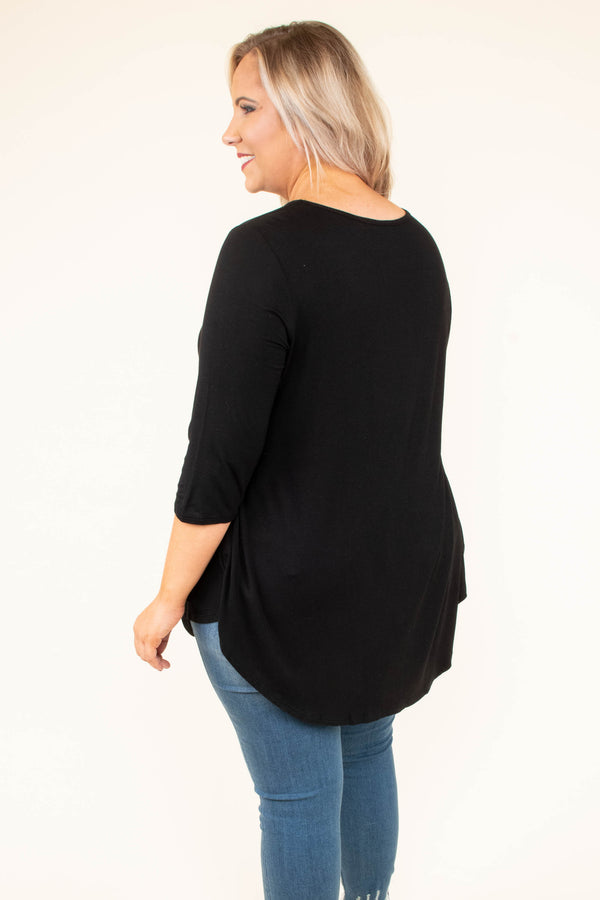 shirt, three quarter sleeve, babydoll, flowy, black, comfy, curved hem