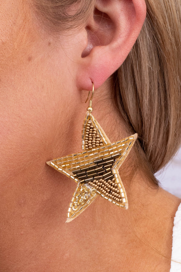 earrings, stars, dangly, beaded, gold