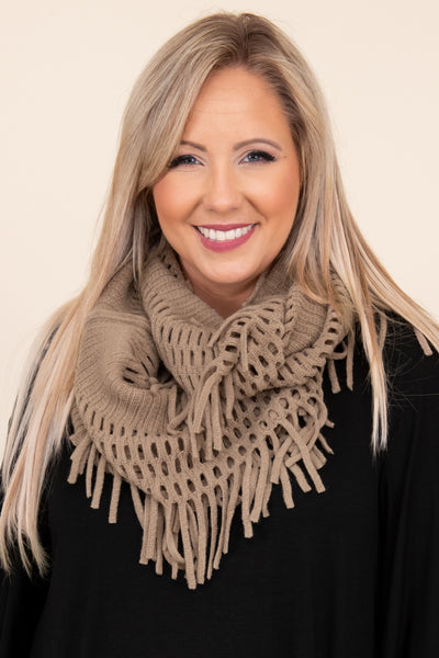 accessories, scarf, brown, fringe, infinite