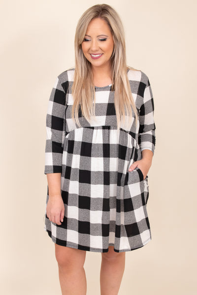 dress, casual, babydoll dress, black, white, plaid, half sleeves