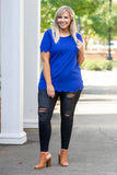 shirt, short sleeve, scalloped hems, long, fitted, comfy, blue