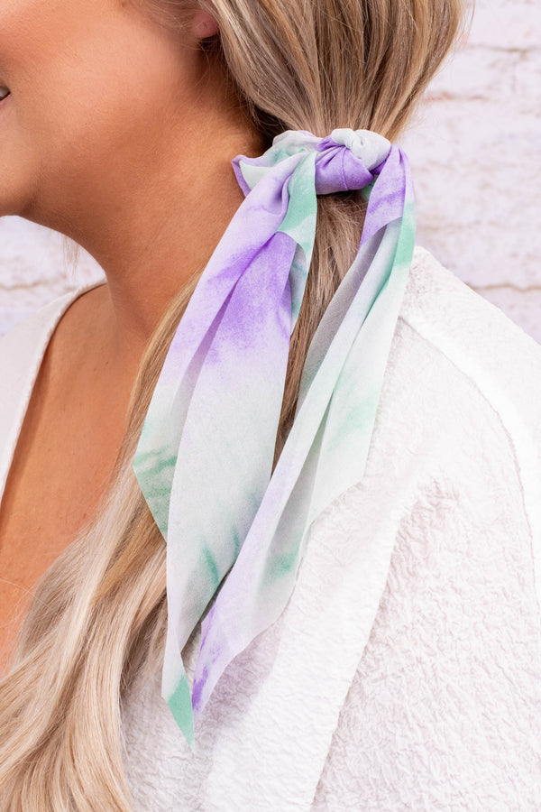 hair tie, scarf, tie dye, purple, green