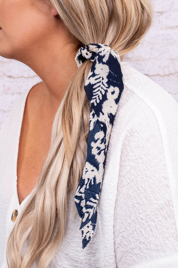hair elastic, scarf, elastic, knotted, long, navy, white, floral, scrunchie