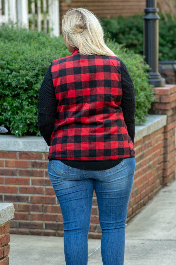 vest, zip up, pockets, red, black, plaid, comfy, outerwear, fall, winter