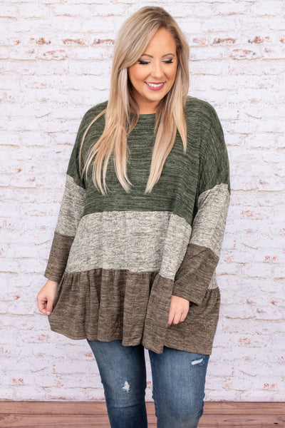 top, casual, babydoll, green, colorblock, stripe, long sleeve, brown