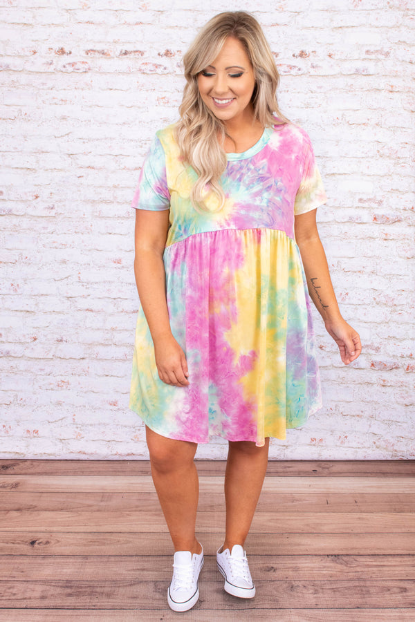 dress, short dress, baby doll, tie dye, pink, yellow, blue, short sleeve, loose, comfy, pockets