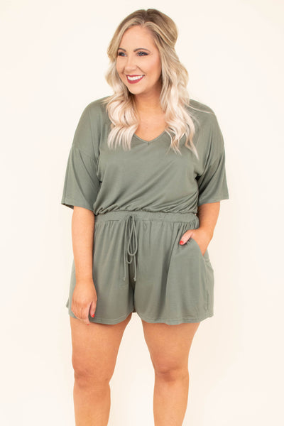 romper, short sleeve, shorts, vneck, drawstring waist, pockets, comfy, green, spring, summer