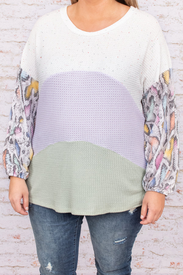 top, casual top, white, colorblock, long sleeve, green, purple, yellow