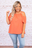 shirt, short sleeve, off the shoulder,thin straps, peach, ruffle detailing, loose, comfy, spring, summer
