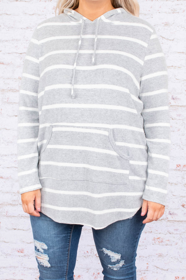hoodie, long sleeve, hood, drawstrings, curved hem, pocket, thin, gray, white, striped, comfy, outerwear
