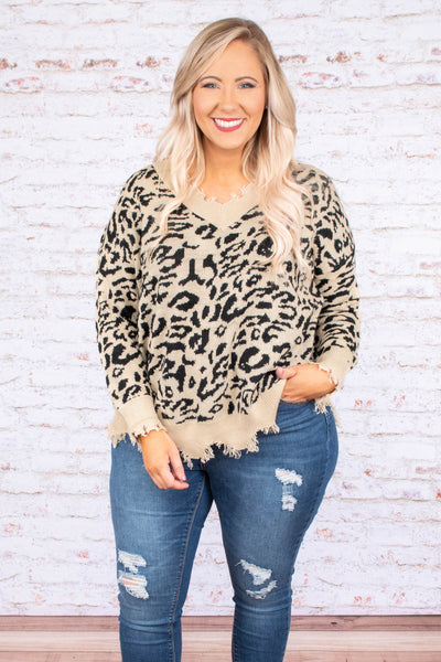 top, sweater, long sleeve, distressed, leopard, cream, black v neck