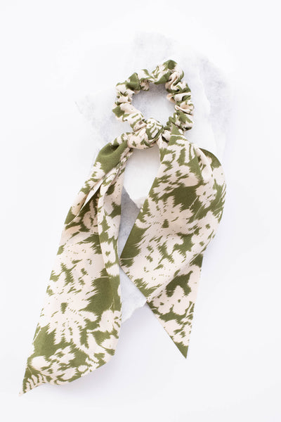hair scarf, elastic, knotted, long, green, white, floral
