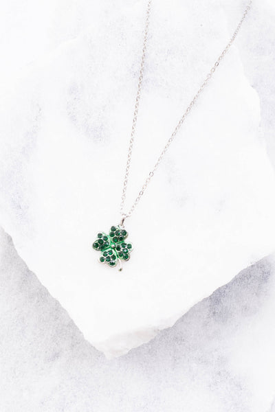 necklace, short chain, clover pendant, green gems, silver, dainty