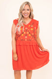 dress, short, short sleeve, ruffle sleeves, vneck, ruffle waist, flowy, orange, embroidery, yellow, green, white, comfy, bright