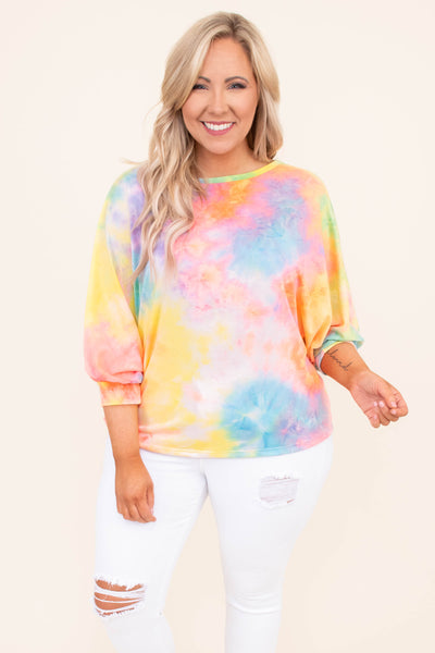 shirt, three quarter sleeve, bubble sleeves, curved hem, short, loose, crisscross back, orange, blue, yellow, tie dye, comfy