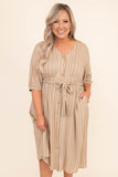 dress, midi dress, below the knww, stripes, button front, tie waist, three quarter sleeve,  taupe, v neck, pockets
