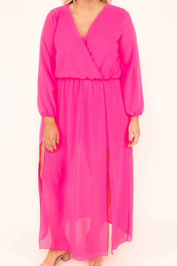 dress, maxi, long sleeve, sheer sleeves, sheer skirt, vneck, wrap top, flowy, tie back, fuchsia, comfy