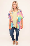 kimono, short sleeve, flowy, thin, long, pink, green, yellow, blue, tie dye, comfy, outerwear, spring, summer