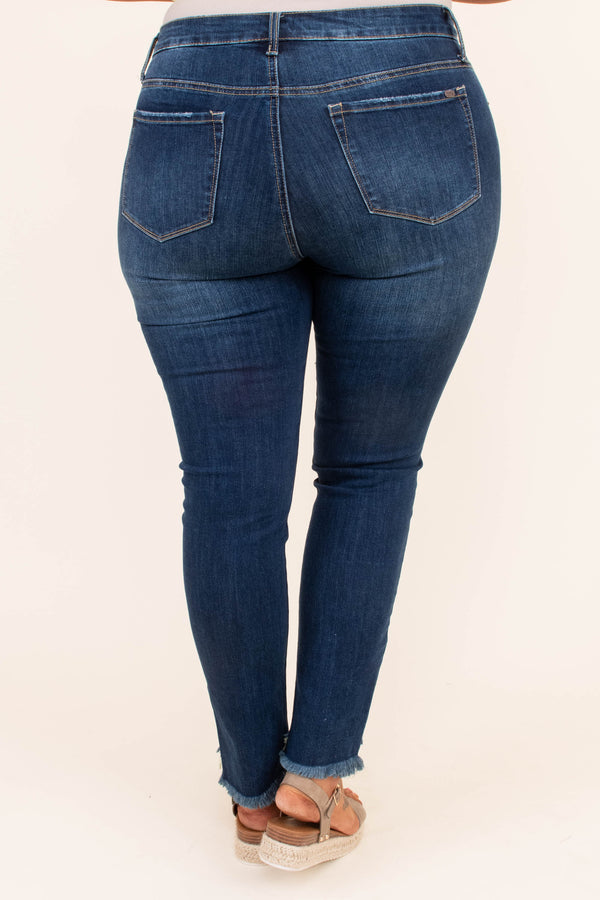 jeans, long, skinny, frayed hems, dark blue, faded, distressed