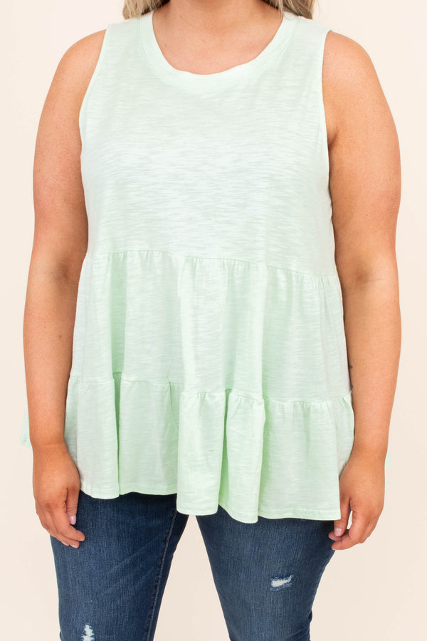 Ruffles And Pearls Top, Mint