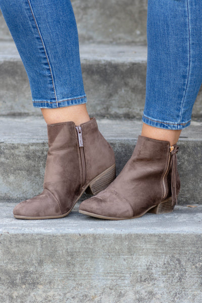 shoes, boots, booties, zip up, ankle height, heeled, taupe, tassel detail