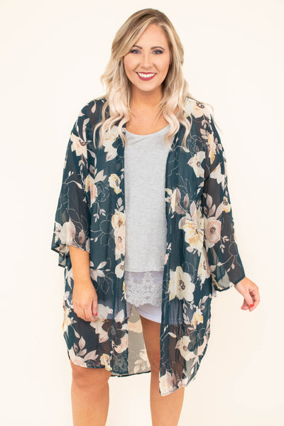 kimono, long sleeve, long, flowy, sheer, bell sleeves, green, floral, tan, yellow, pink, spring, summer