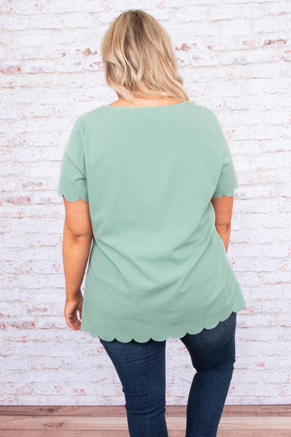 shirt, short sleeve, long, scalloped hems, green, comfy, loose