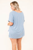 shirt, short sleeve, vneck, side slits, flowy, blue, solid, comfy, cuffed sleeve