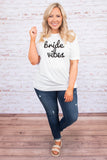 tshirt, short sleeve, long, loose, white, graphic, bride vibes, black, comfy