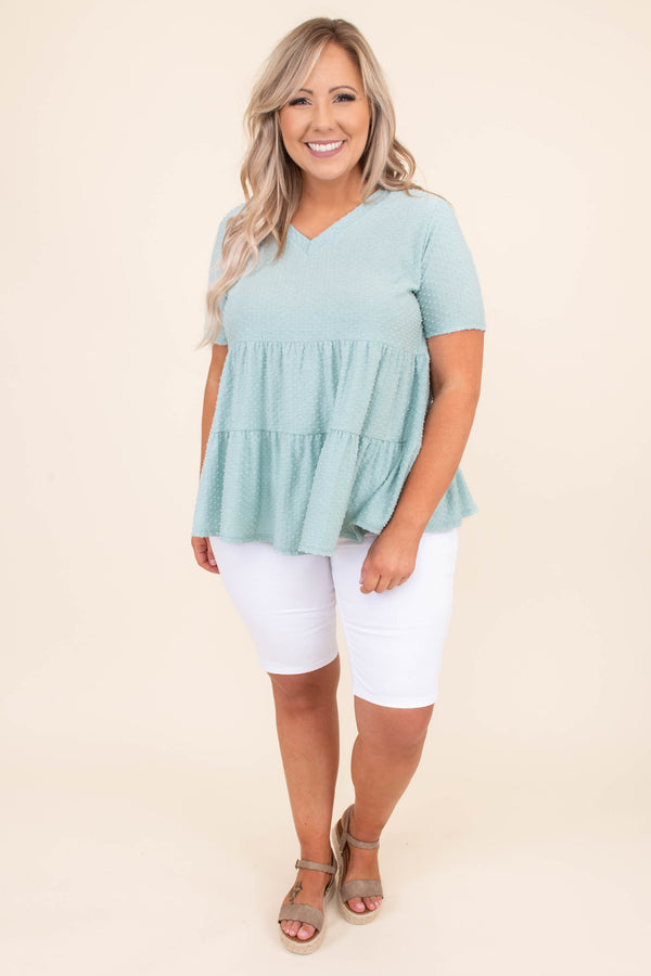 shirt, top, short sleeve, baby doll, swiss dot, polka dot, loose, comfy, sage, v neck