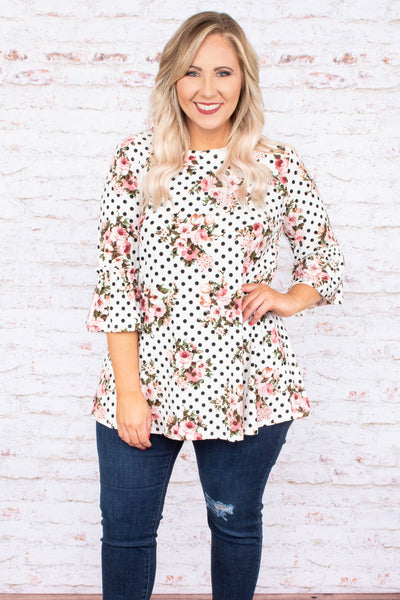 tunic, ivory, polka dot, floral, print, three quarter sleeves, top