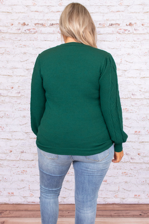 Top, sweater, green, solid, long sleeve, figure flattering