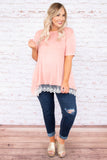 top, peach, lace trim, short sleeve, flowy