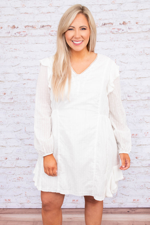 dress, short, long sleeve, bubble sleeves, vneck, fitted waist, ruffle details, white, flowy, comfy